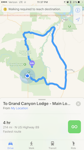 Grand Canyon south rim to north rim route map