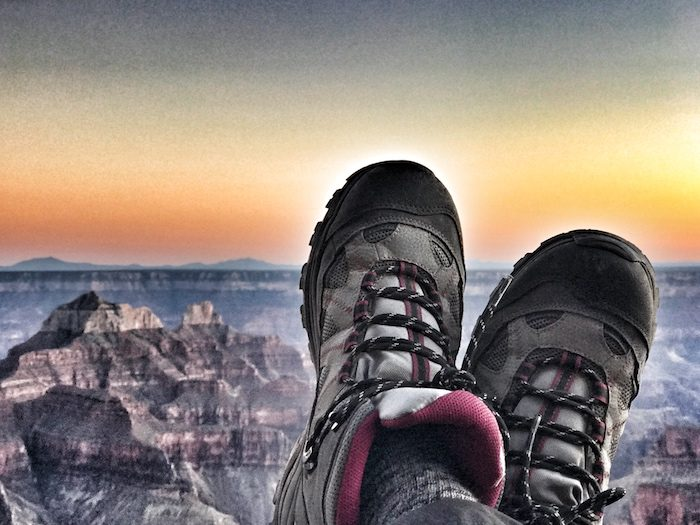 An image of beautiful sunset on the patio of North Rim Lodge before our big day of the rim to rim day hike.