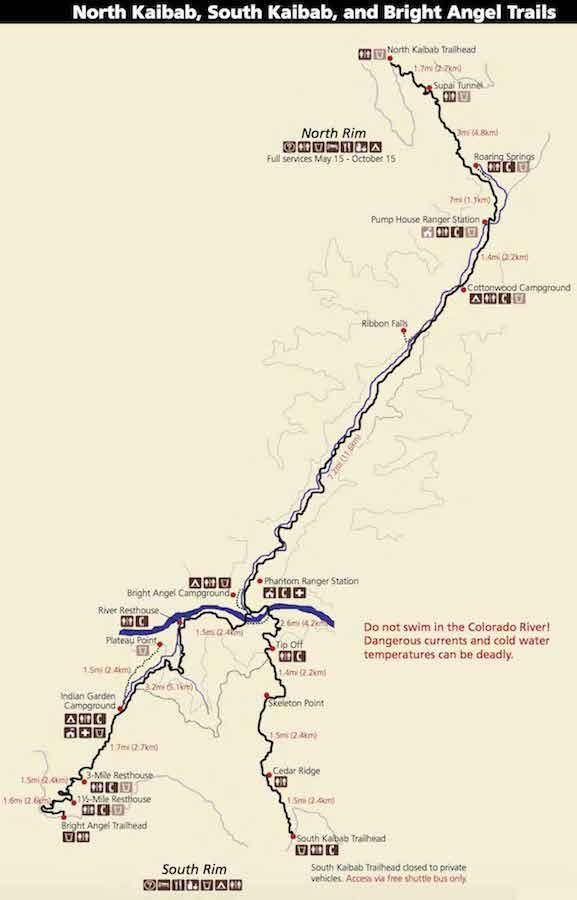 Grand Canyon Rim to Rim Trail Map