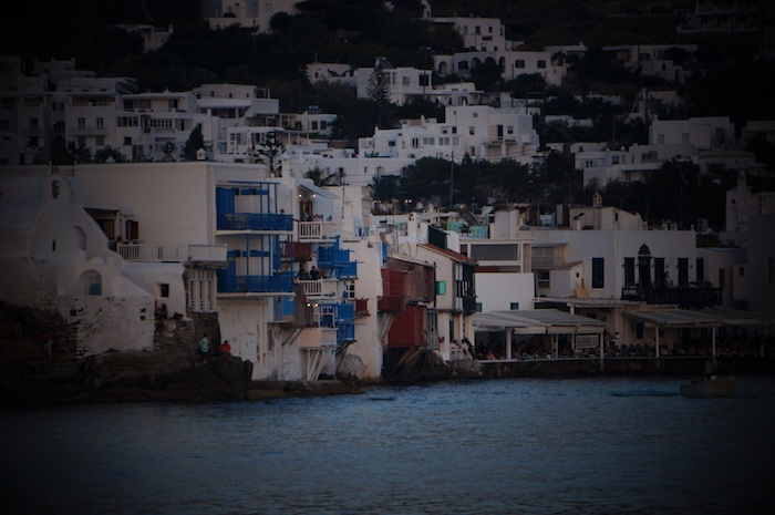 Mykonos little venice night falling