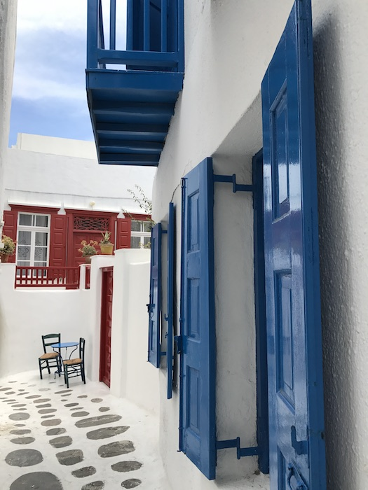 Mykonos town alleys colorful