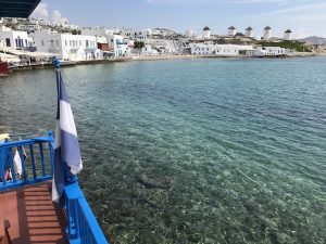 The famous Little Venice and windmills in Mykonos, Greece
