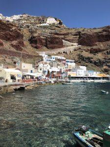 A small fishing village sitting in the Amoudi Bay below Oia, Santorini, Greece