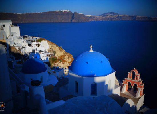 The most photographed blue-domed church in Oia, Santorini, Greece