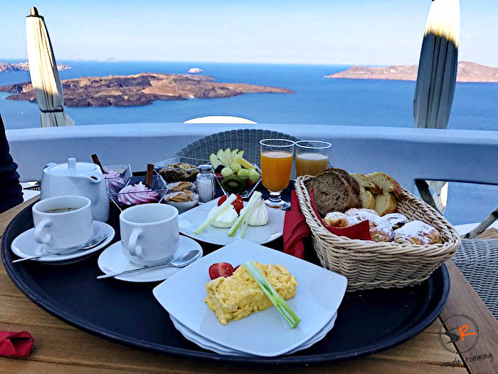 Enjoy breakfast at Chic Hotel (Firostefani, Santorini) with a Caldera view