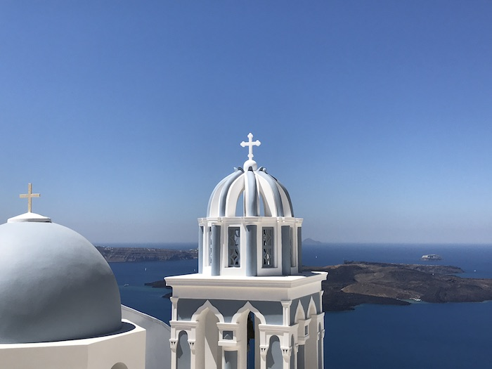 Santorini blue-domed church near Firostefani