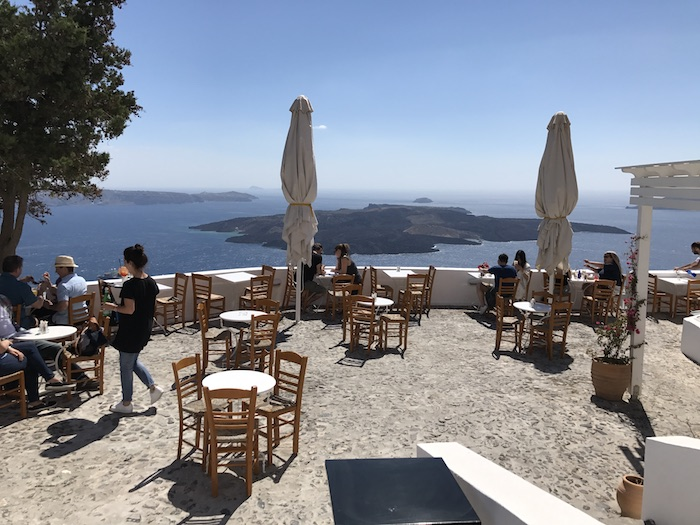 Santorini cliffside bar with the Caldera view