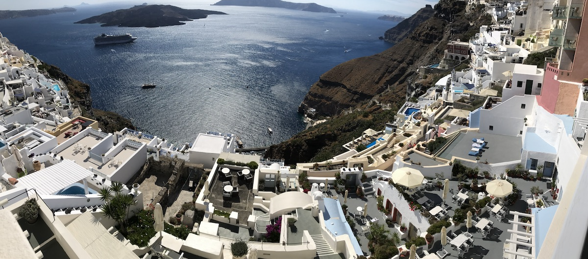 Santorini cliffside villa panorama
