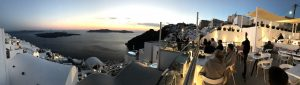 Watching the sun set from Restaurant Onar in Firostefani, Santorini, Greece